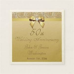 personalized 50th gold wedding anniversary paper napkins With 50th wedding anniversary napkins