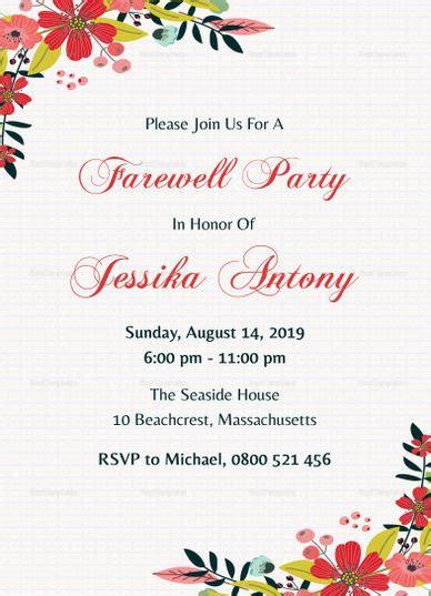 classic farewell party invitation template farewell