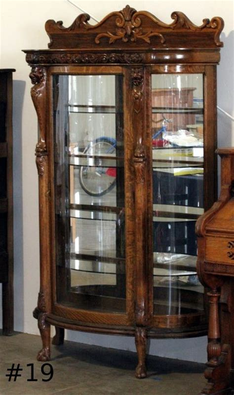 antique curio cabinets antique curio cabinets with curved glass cabinets matttroy