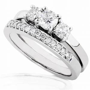 3 8ctw three stone round brilliant diamond wedding ring for Three stone wedding ring set