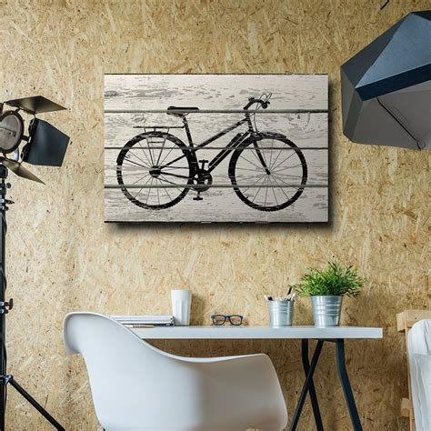 This sturdy wall hanger is basically begging to be spraypainted a pretty gold or copper for a pop of quartertwenty velostirrups wall mounted bike rack. Bicycle/Bike Silhouette Artwork-Rustic Canvas Wall Art Home Decor - 32x48 inches | eBay
