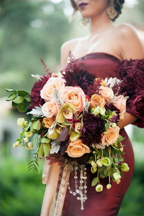 fall wedding bouquet deer pearl flowers
