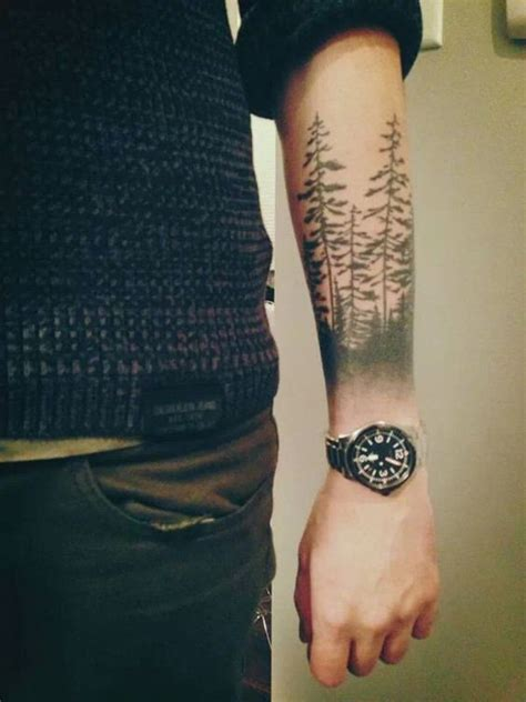 forest tattoo  left arm  guys