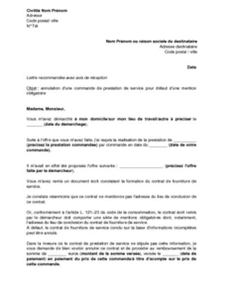 lettre d 39 annulation d 39 une prestation commandée suite à un