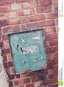 Old Rusty Retro Metal Box For Electrical Fuses And Switches  Isolated With Patch Stock Image