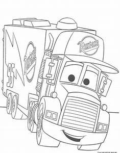 free cars coloring pages to print - cars 2 mack truck car carrier coloring pages for kidsfree