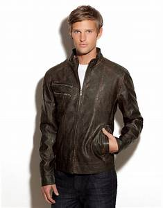 Guess Mens Leather Jacket images