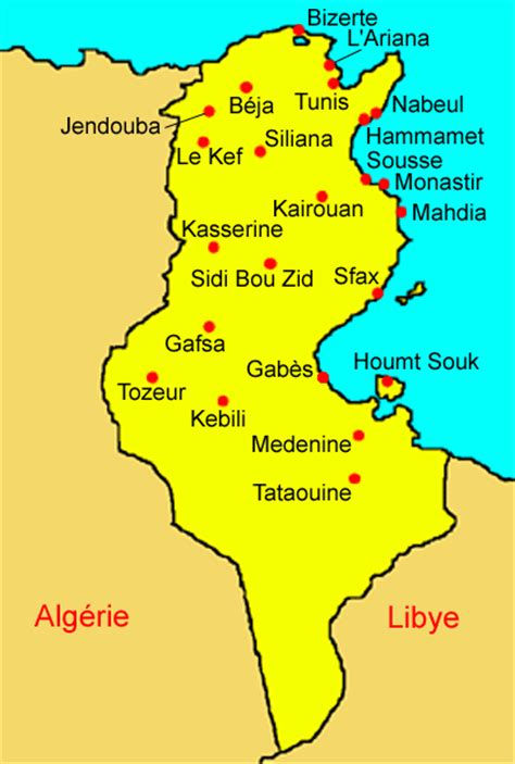 Carte De Tunisie Avec Villes by Tunisie Carte Villes