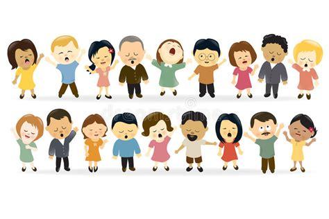 Sjunga för grupp människor vektor illustrationer. Bild av ...