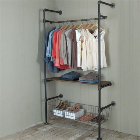 garment racks made with pipe and fittings give an industrial feel and are extremely durable