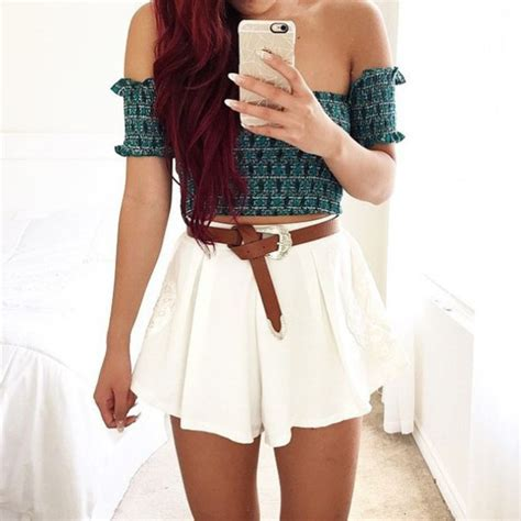 Shirt cute love pretty crop tops high waisted shorts style fashion tumblr outfit shoes ...