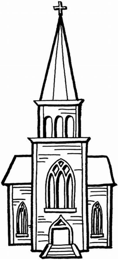 Church Clip Clipart Chapel Tower Steeple Coloring