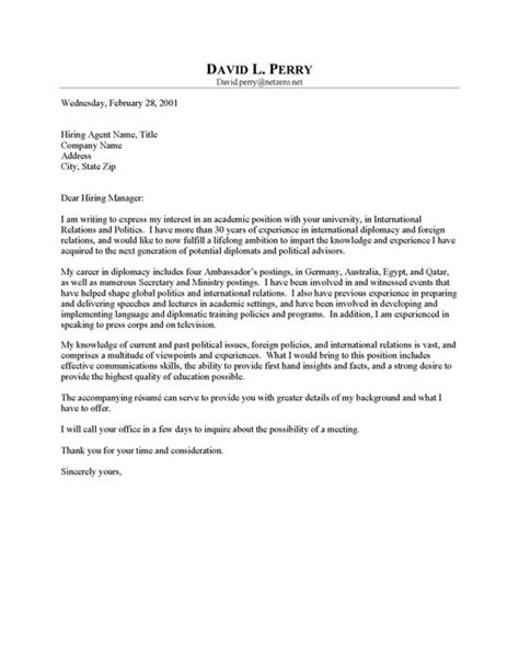 Cover Letter For Professor Resume by Ambassador Professor Cover Letter Resume Cover Letter