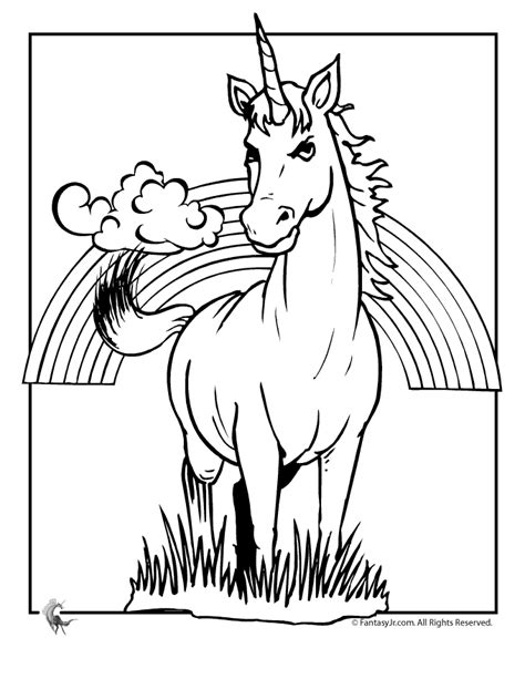 fantasy jr unicorn rainbow coloring page unicorns