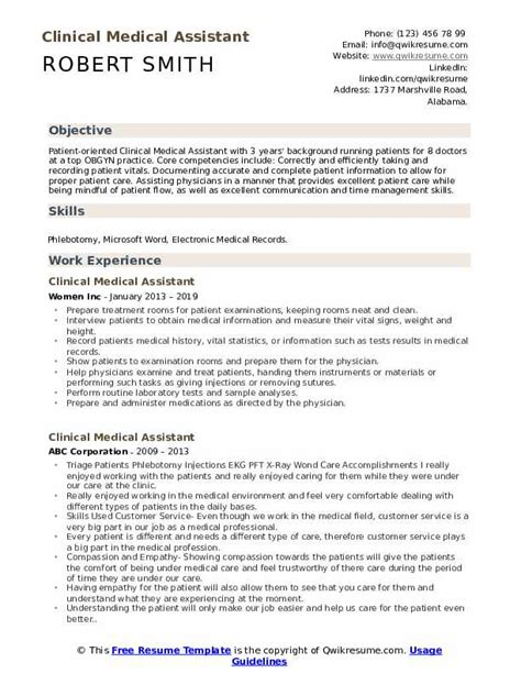 Clinical Assistant Resume by Clinical Assistant Resume Sles Qwikresume