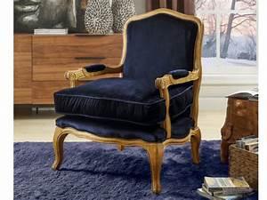 Fauteuil Bleu Marine : fauteuil l gant en velours bleu nuit pieds bois mahaux ~ Teatrodelosmanantiales.com Idées de Décoration