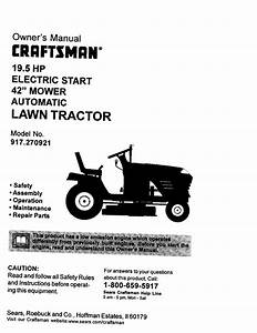 Craftsman 917270921 User Manual 19 5hp Automatic Lawn