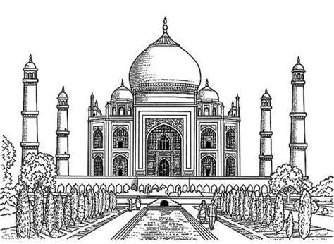 realistic drawing  taj mahal coloring page netart