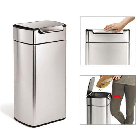 poubelle de cuisine 30l poubelle rectangulaire touch bar 30l acier brossé