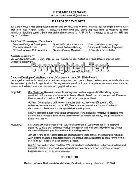 resume objective for database developer database developer sle resume by a nationally certified resume writer