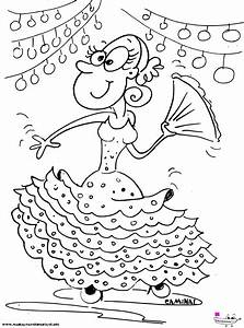 Dibujo de una Gitana en la Feria Manualidades Infantiles
