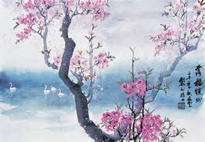 Chinese Painting Cherry Blossoms