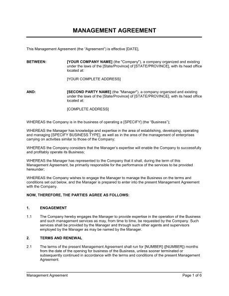 management agreement template word   business