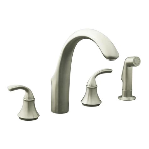 kitchen faucet clearance shop kohler forte vibrant brushed nickel 2 handle high arc