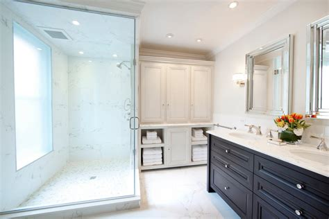 beautiful calacatta tile in bathroom contemporary with