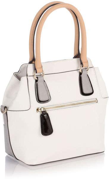 Guess Jordyn Satchel White guess turnlock satchel bag in white lyst