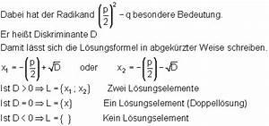 Nullstellen Berechnen Quadratische Ergänzung : quadratische gleichungen und p q formel mathe brinkmann ~ Themetempest.com Abrechnung
