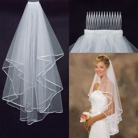 Wedding Simple Tulle White Ivory Two Layers Wedding Veils