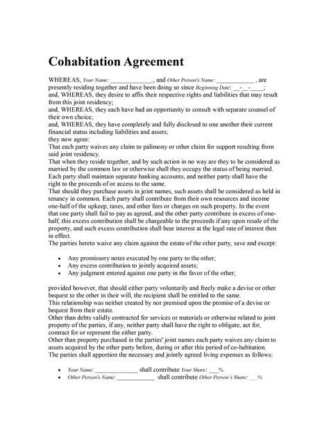 cohabitation agreement template