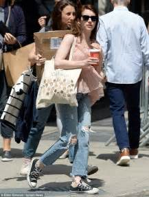 Emma Roberts dons ripped denim and pleated blouse in NYC ...