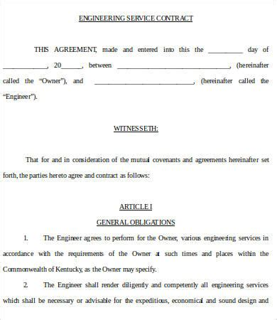 Engineering Services Contract Template by Service Contract Templates 18 Free Word Pdf Documents