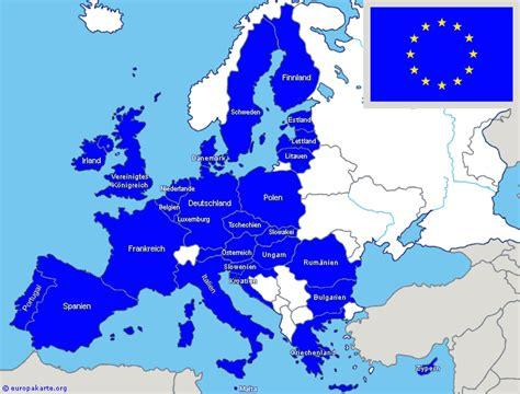 europaeische union eu laender auf der europakarte