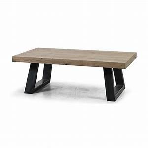 Table Salon Industriel : table basse style industriel en chene vieilli ~ Teatrodelosmanantiales.com Idées de Décoration