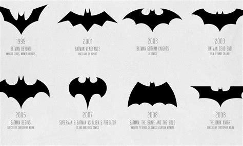 a evolução do logo do batman mostrada em um infográfico