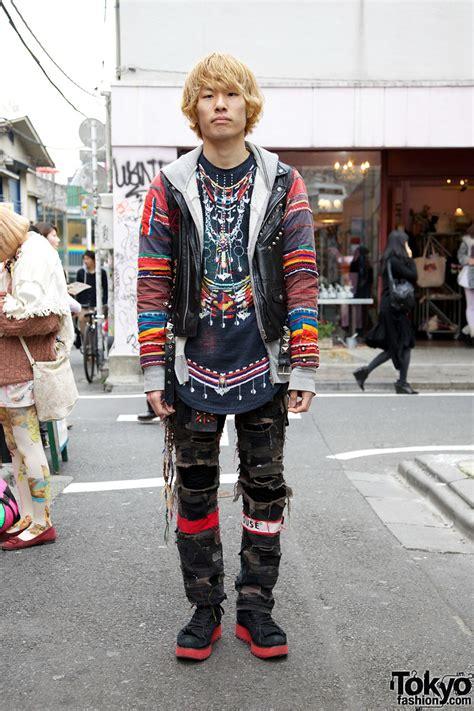 kamo ethnic shirt w leather vest shredded patchwork pants