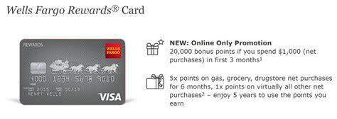Wells Fargo Rewards Card 20,000 Bonus Points + 5x Points