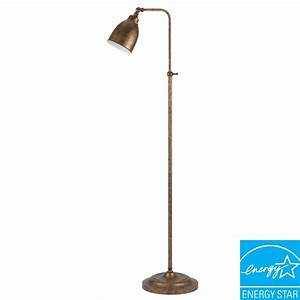 Cal lighting 62 in rust metal adjustable pharmacy floor for Pharmacy floor lamp home depot