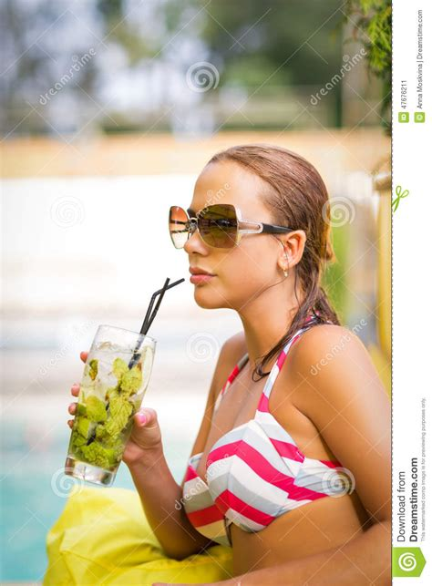 Bikini Drink Woman With Mojito Drink In Bikini Stock Photo Image