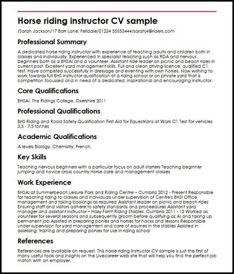 equestrian working student resume instructor cv sle myperfectcv