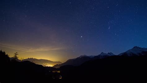 Starry Night At A Valley Stock Footage Video 100 Royalty