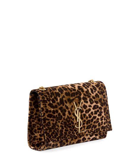 saint laurent kate monogram ysl small leopard print velvet crossbody bag neiman marcus