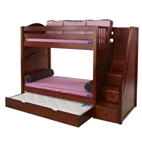 low price bunk beds whopper high bunk bed in chestnut with stairs by maxtrix