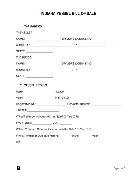 Texas Vessel Registration Search by Free Indiana Vessel Bill Of Sale Form Word Pdf
