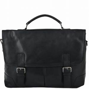 Mens Soft Leather Handcrafted Briefcase Black : Elliot ...