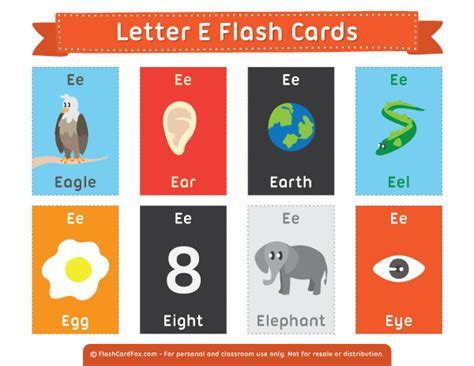 Printable Letter E Flash Cards