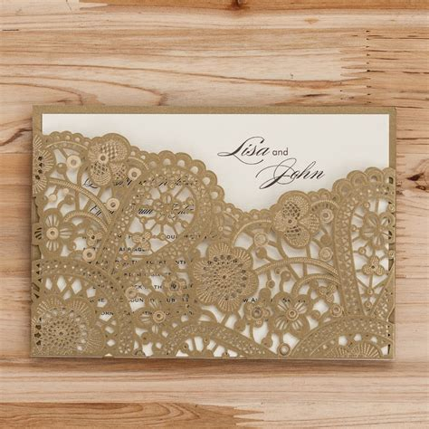 Laser Cut Wedding Invitations Cards Gold Black Red Flora